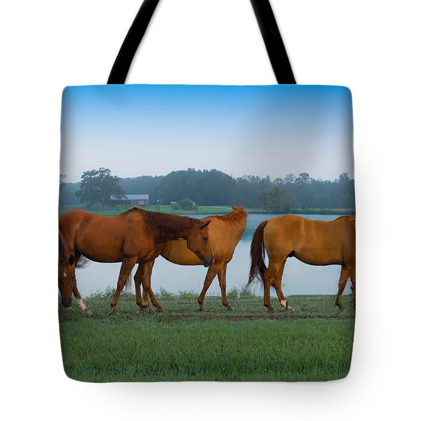 Horses On The Walk Tote Bag