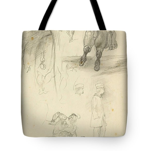 Horses Riders And A Young Man Tote Bag