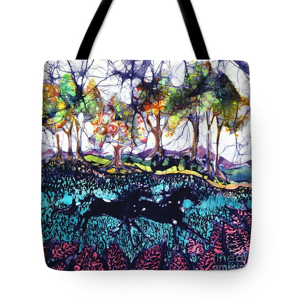 Horses Running Below Hills Tote Bag