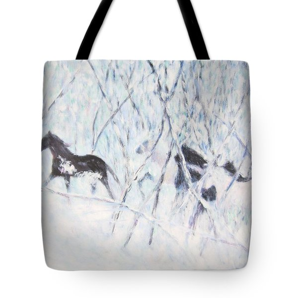 Horses Running In Ice And Snow Tote Bag
