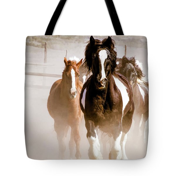 Tote Bag featuring the digital art Horses Running Into A Dusty Ranch Corral by Nadja Rider