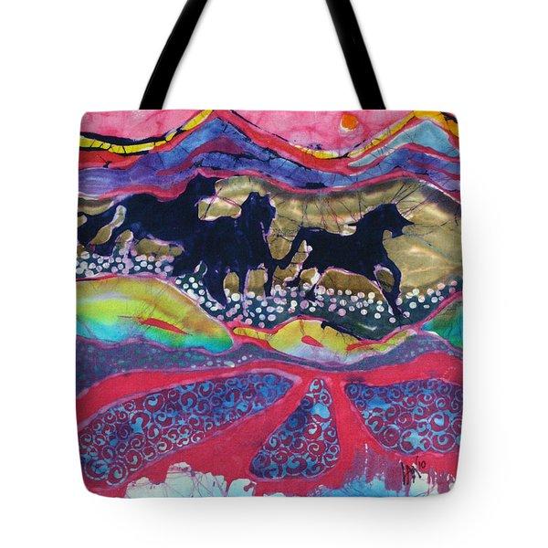 Horses Running Thru A Stream Tote Bag