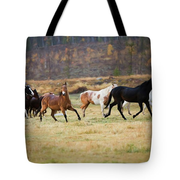 Tote Bag featuring the photograph Horses by Sharon Jones