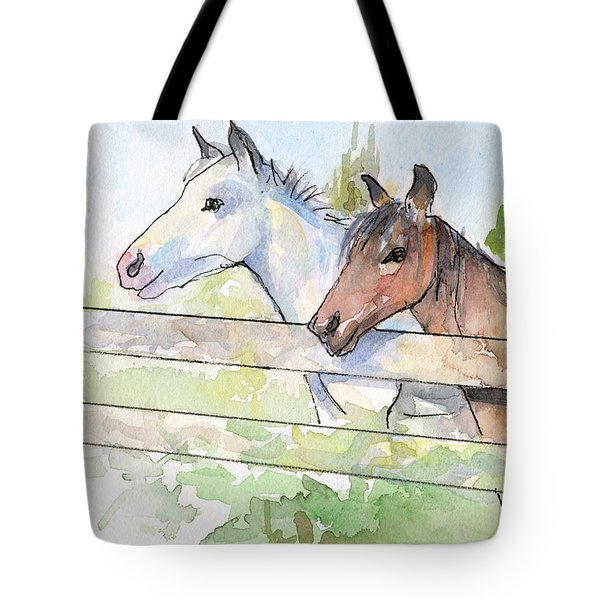 Horses Watercolor Sketch Tote Bag