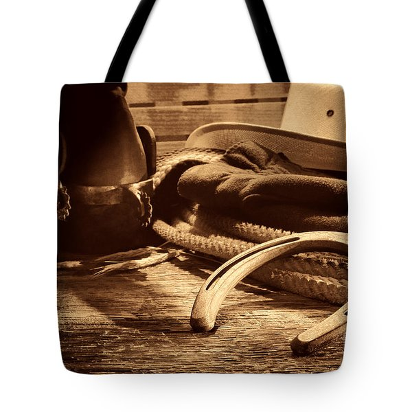 Horseshoe And Cowboy Gear Tote Bag