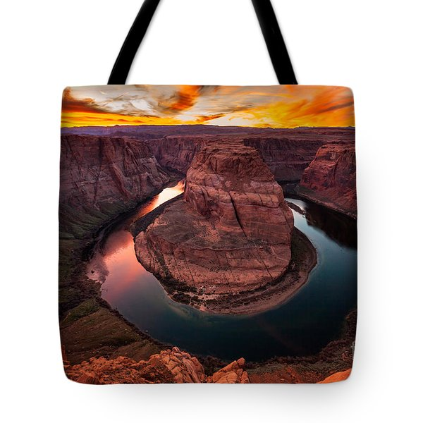 Tote Bag featuring the photograph Horseshoe Bend, Colorado River, Page, Arizona  by Bryan Mullennix