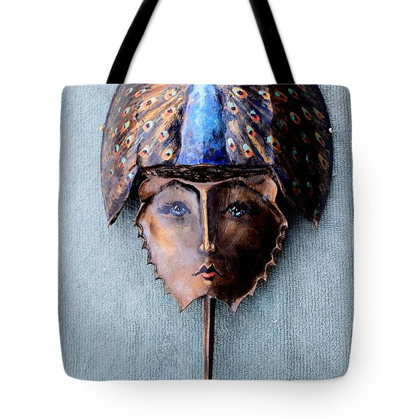 Horseshoe Crab Mask Peacock Helmet Tote Bag