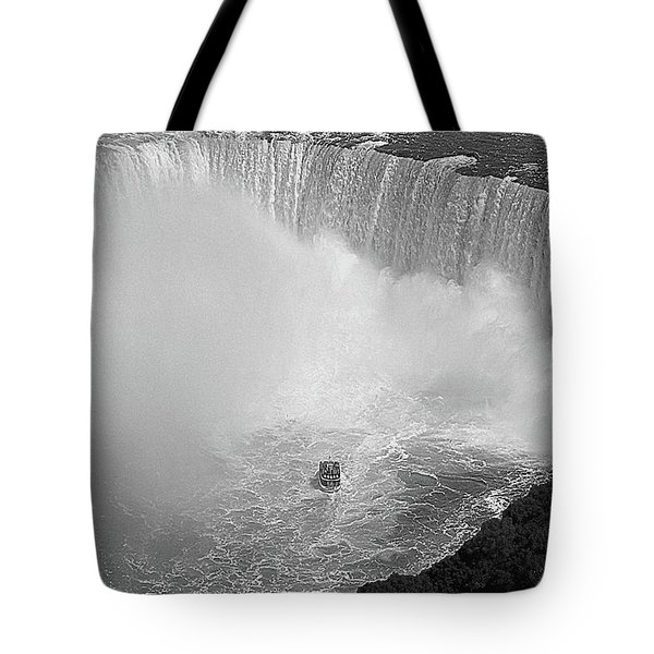 Horseshoe Falls Black And White Tote Bag by DigiArt Diaries by Vicky B Fuller