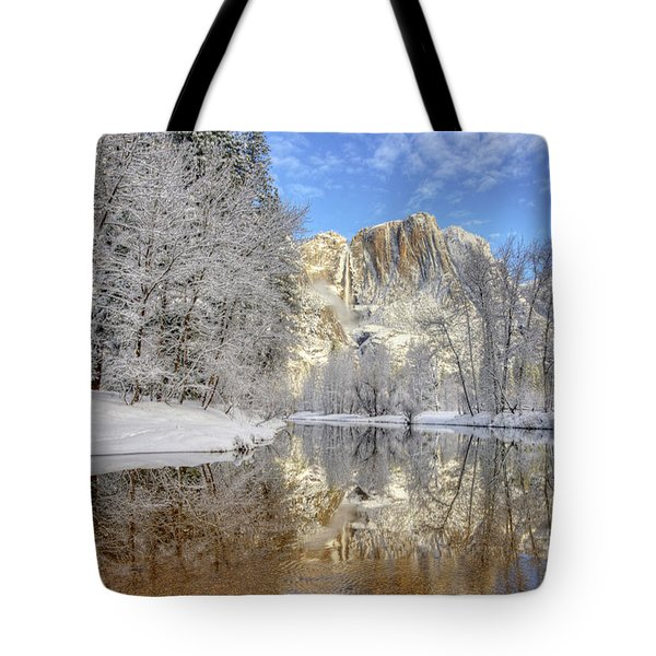 Horsetail Fall Reflections Winter Yosemite National Park Tote Bag