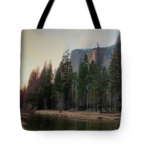 Horsetail Falls Merced River Sunset 2017 Tote Bag