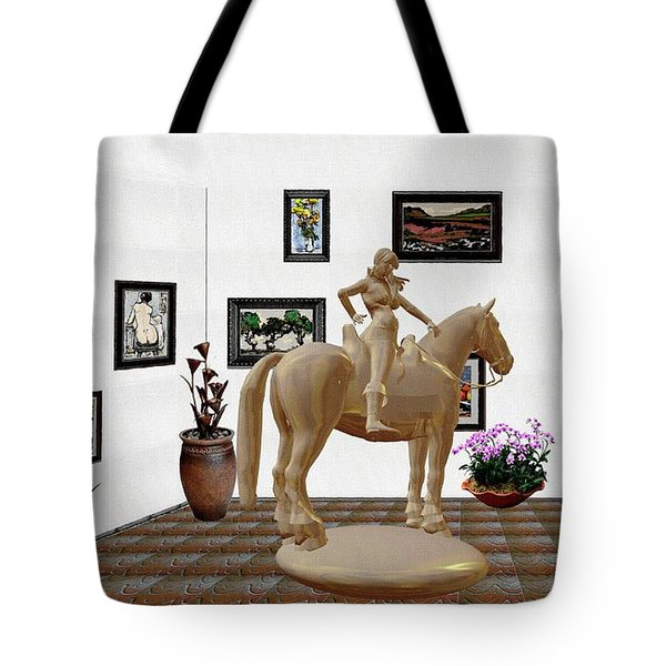 Virtual Exhibition -statue Of Horsewoman 12 Tote Bag by Pemaro