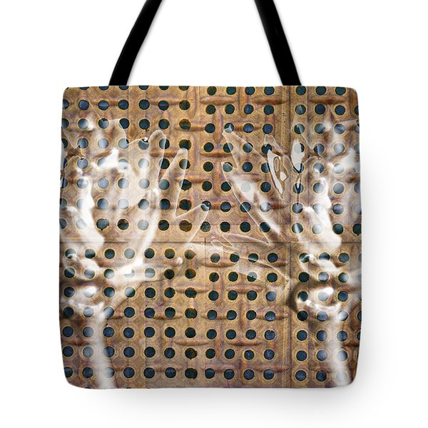 Tote Bag featuring the photograph Hosta Flowers On A Rubber Mat In Sepia by Suzanne Powers