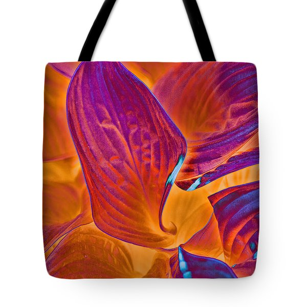 Tote Bag featuring the photograph Hostas With Sabattier by Bill Barber