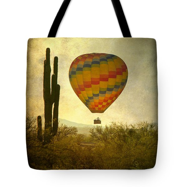 Hot Air Balloon Flight Over The Southwest Desert Tote Bag by James BO  Insogna