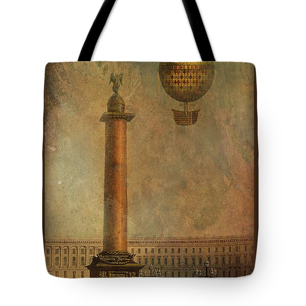 Tote Bag featuring the digital art Hot Air Balloon Over St Petersburg And The Hermitage by Jeff Burgess