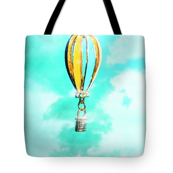 Hot Air Balloon Pendant Over Cloudy Background Tote Bag