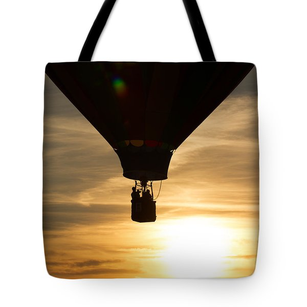 Hot Air Balloon Sunset Silhouette Tote Bag