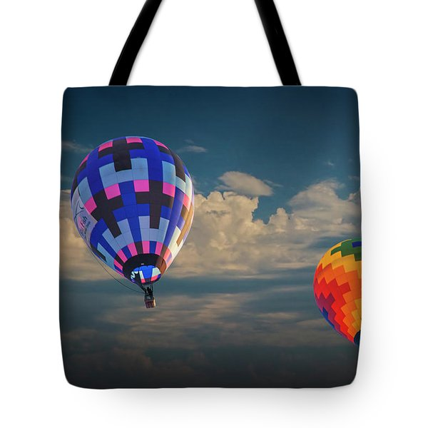 Hot Air Balloons Against A Cloudy Sky Tote Bag