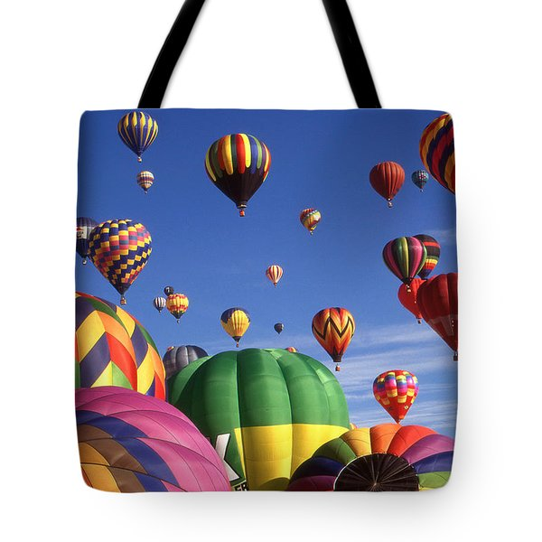 Beautiful Balloons On Blue Sky - Color Photo Tote Bag