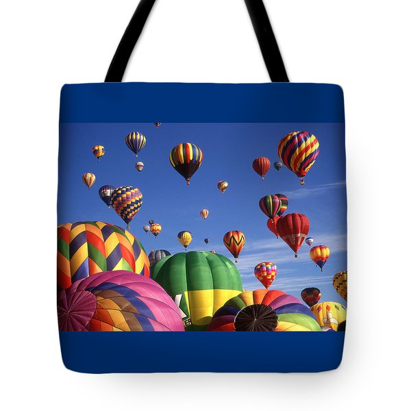 Beautiful Balloons On Blue Sky Tote Bag by Art America Gallery Peter Potter