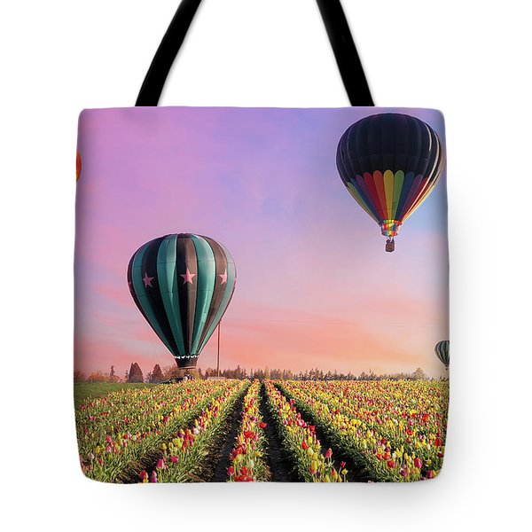 Hot Air Balloons At Tulip Fields Tote Bag
