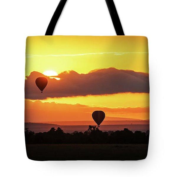 Hot Air Balloons In Surise Orange Africa Sky Tote Bag