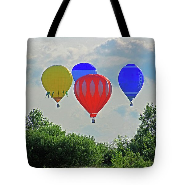 Tote Bag featuring the photograph Hot Air Balloons In The Sky by Angela Murdock