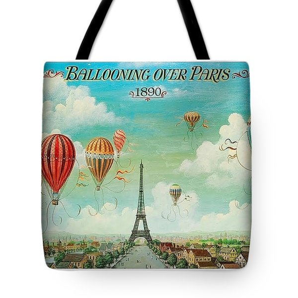 Hot Air Balloons Over Paris, Abstract Poster Tote Bag