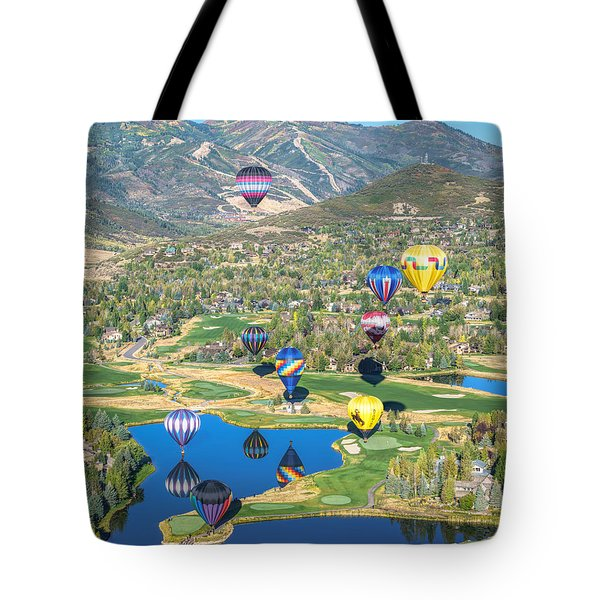 Hot Air Balloons Over Park City Tote Bag