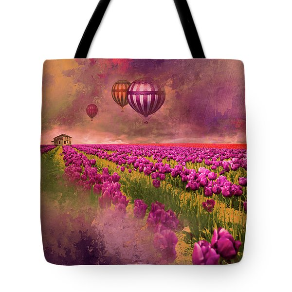 Tote Bag featuring the photograph Hot Air Balloons Over Tulip Fields by Jeff Burgess