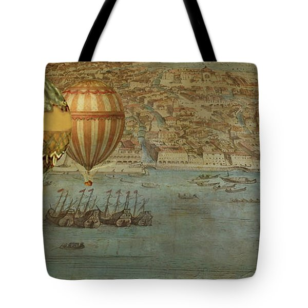 Tote Bag featuring the digital art Hot Air Baloons Over Venus by Jeff Burgess