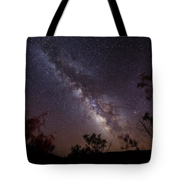 Hot August Night Under The Milky Way Tote Bag by Karen Slagle