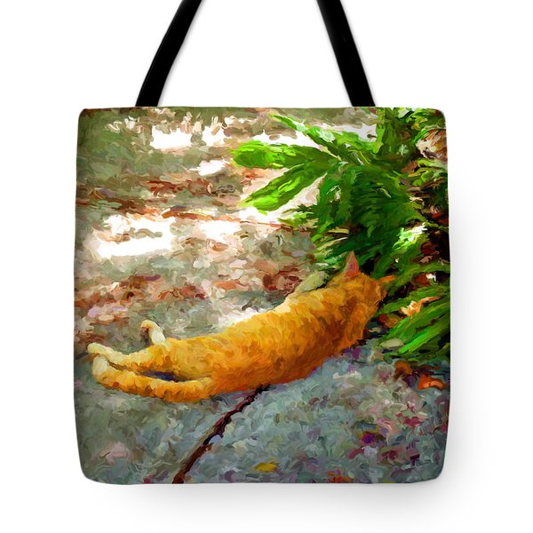 Tote Bag featuring the painting Hot Cat by David  Van Hulst