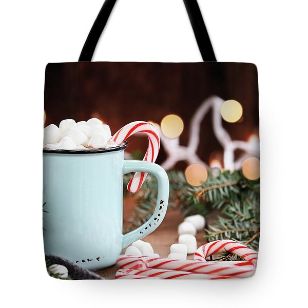 Hot Cocoa With Marshmallows And Candy Canes Tote Bag