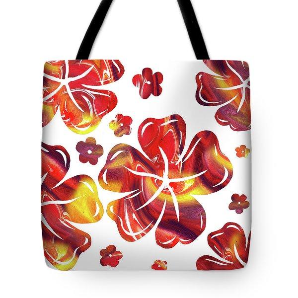 Hot Flowers Dancing Silhouettes Tote Bag