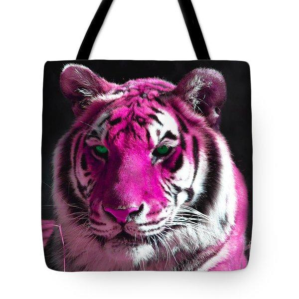 Hot Pink Tiger Tote Bag by Rebecca Margraf