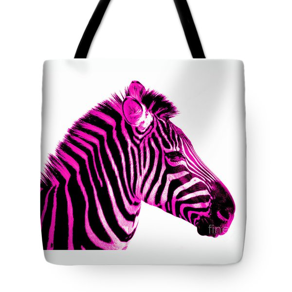 Hot Pink Zebra Tote Bag by Rebecca Margraf