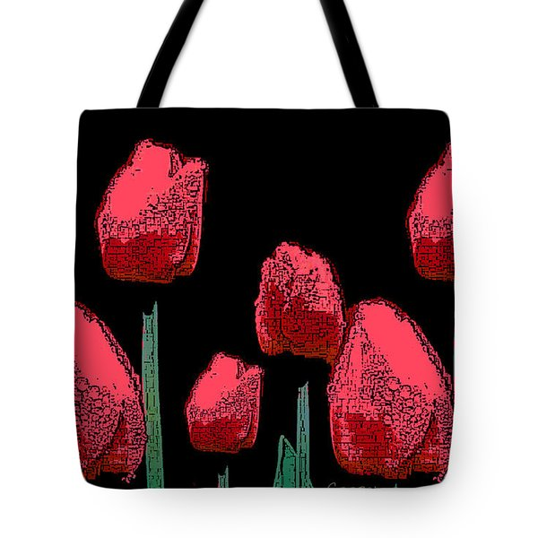 Hot Red Tulips Tote Bag