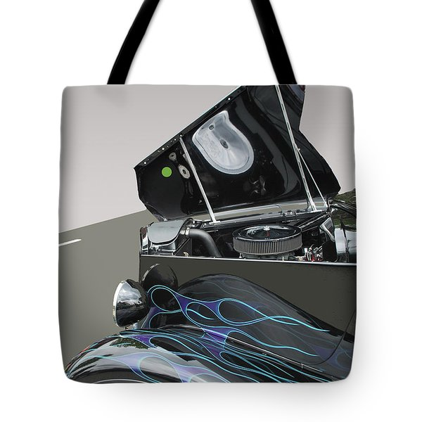 Tote Bag featuring the photograph Hot Rod With Flames by Bill Thomson