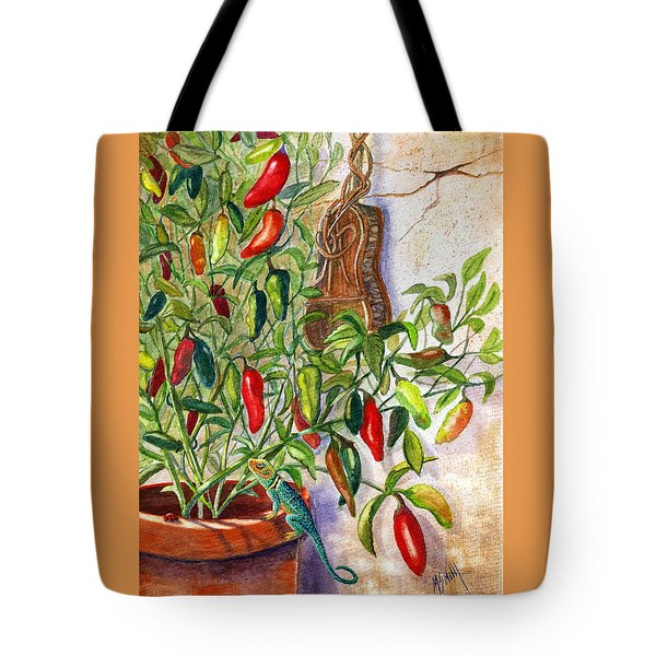 Tote Bag featuring the painting Hot Sauce On The Vine by Marilyn Smith