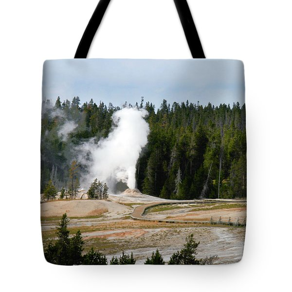 Hot Steam Dog Yellowstone National Park Wy Tote Bag by Christine Till