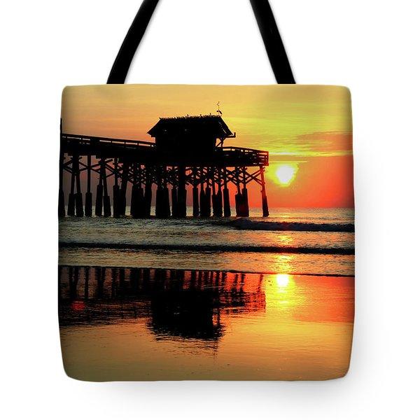 Hot Sunrise Over Cocoa Beach Pier  Tote Bag