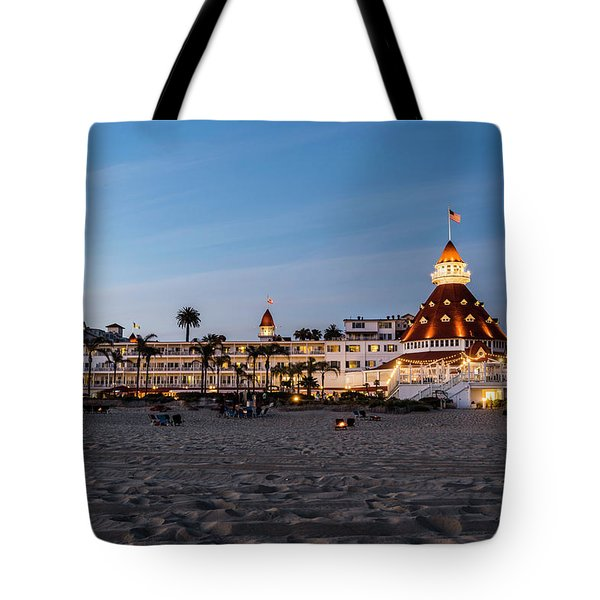 Hotel Del At Twilight Tote Bag