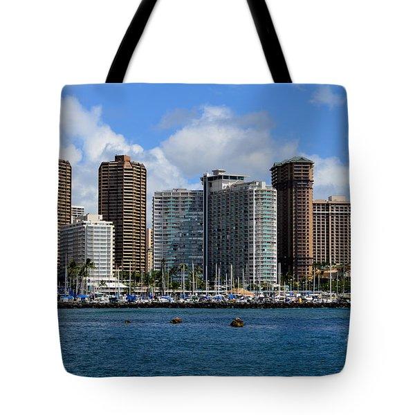 Hotel Ilikai And Neighbors - Honolulu Hawaii Tote Bag