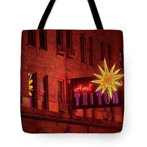 Hotel Triton Neon Sign Tote Bag