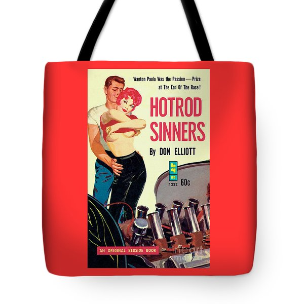 Tote Bag featuring the painting Hotrod Sinners by John Duillo