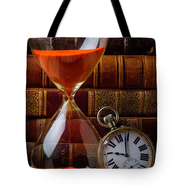 Hourglass And Pocket Watch Tote Bag