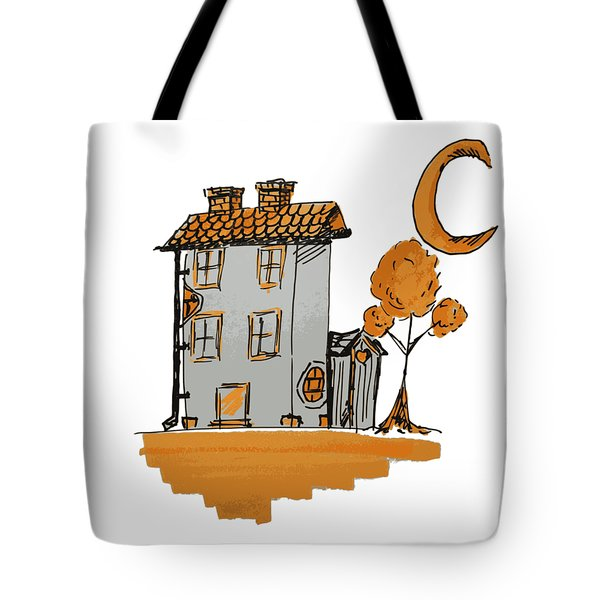 House And Moon Tote Bag