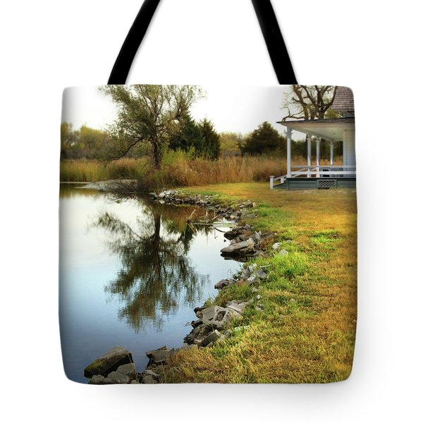 House By The Edge Of The Lake Tote Bag by Jill Battaglia