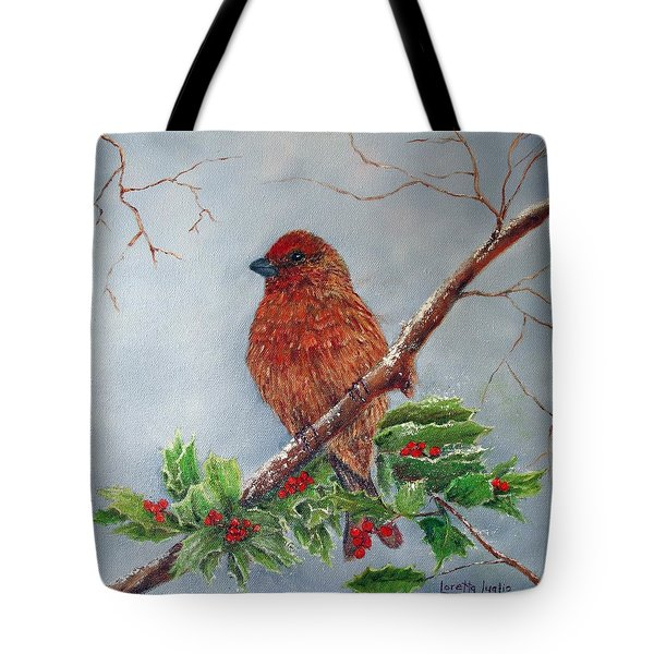House Finch In Winter Tote Bag